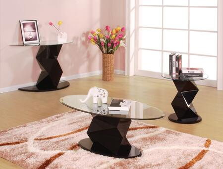 Taksha 81365CSE 3 PC Living Room Table Set with Coffee Table + End Table + Sofa Table in Black