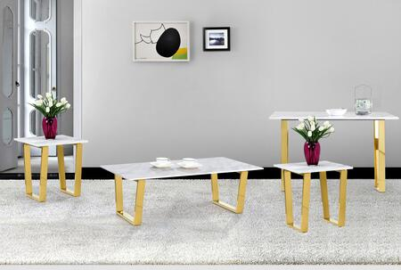 Cameron Collection 2124PCRC2SERNKIT1 4-Piece Living Room Table Sets with Coffee Table  2x End Table and Console Table in Rich