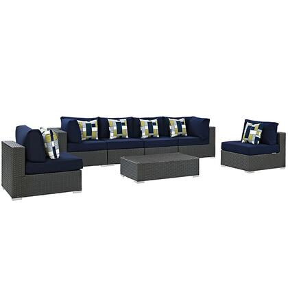 Sojourn Collection EEI-2379-CHC-NAV-SET 7-Piece Outdoor Patio Sunbrella Sectional Set with 4 Armless Chairs  Coffee Table and 2 Corner Sections in Canvas