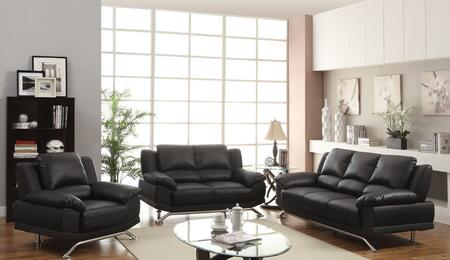 Maigan Collection 51205SLC 3 PC Living Room Set with Sofa + Loveseat + Chair in Black