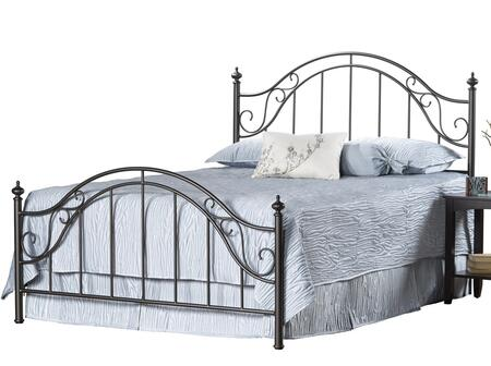 Clayton 1681BQR Queen Sized Bed with Headboard  Footboard  Frame and Cast Metal Construction in Matte Brown