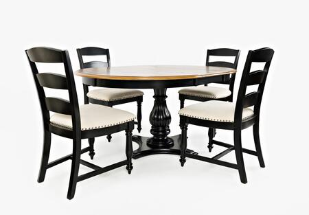 Castle Hill Collection 178666TBKTSET 5 PC Dining Room Set with Dining Table + 4 Ladder Back Chairs  in Antique Black and Oak