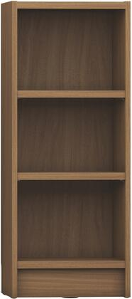 """Greenwich Collection 160452 17"""" 3-Shelf Narrow Tall 1.0 Bookcase with 3 Adjustable Shelves  Sleek Metal Hardware and Closed Base in Maple"""