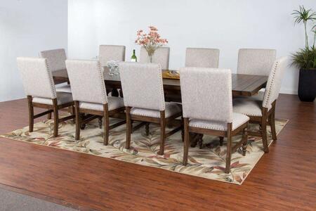 Savannah Collection 1383ACDT10C 11-Piece Dining Room Set with Dining Table and 10 Chairs in Antique Charcoal