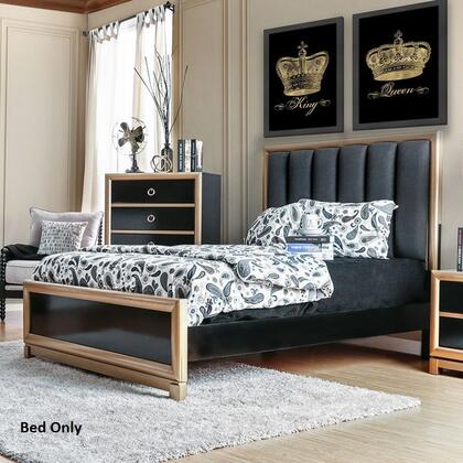 Braunfels Collection CM7263Q-BED Queen Size Bed with Gold Trim  Upholstered Headboard  Solid Wood and Wood Veneers Construction in Black and Gold