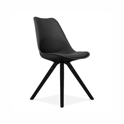 LS-1000-BLKBLK Viborg Black Mid Century Side Chair Black Base (Set Of