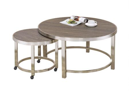 Elwyn Collection 80385 2 PC Coffee Table Set with Round Shape  Casters  Metal Frame  Medium-Density Fiberboard (MDF) and Wood Veneer Materials in Walnut and