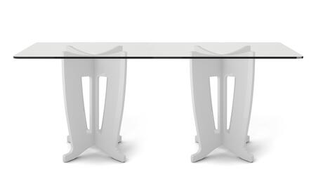 105452 Jane 2.0 -78.64 in Sleek Tempered Glass Table Top in White