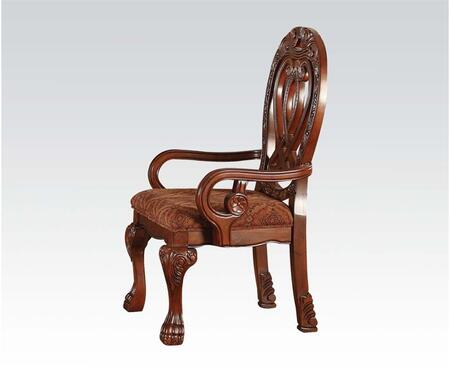 Quinlan Collection 60269 18 inch  Fabric Upholstered Arm Chair with Cabriole Legs  Carved Detailing and Piped Stitching in Cherry