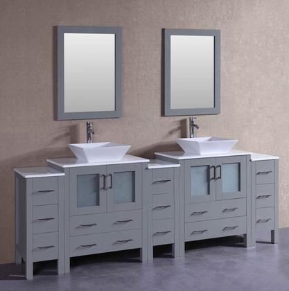 AGR230S3S 96 inch  Double Vanity with Phoenix Stone Top  Flared Square White Ceramic Vessel Sink  F-S02 Faucet  Mirror  4 Doors and 13 Drawers in