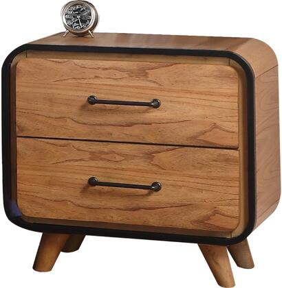 Carla Collection 30763 25 inch  Nightstand with 2 Drawers  Metal Hardware  Wooden Splayed Leg  Medium-Density Fiberboard