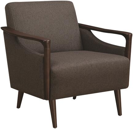 Accents Collection 904045 18 Accent Chair With Mid-century Design  Sinuous Spring Seating  Brown Retro Tapered Legs And Woven Fabric Upholstery In Brown