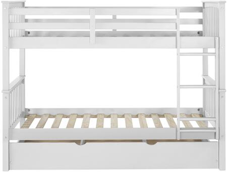 BWTOTMSWH-TR Solid Wood Twin Bunk Bed with Trundle Bed in