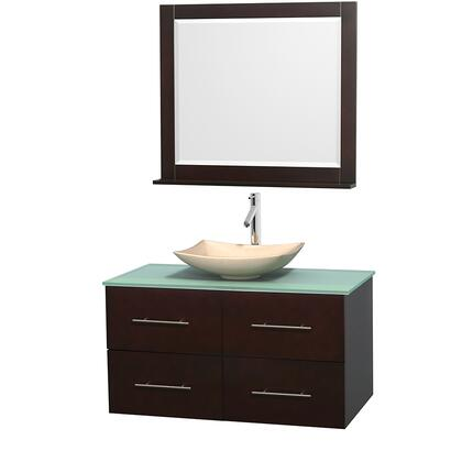 WCVW00942SESGGGS5M36 42 in. Single Bathroom Vanity in Espresso  Green Glass Countertop  Arista Ivory Marble Sink  and 36 in.