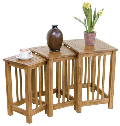 Sedona Collection 2123RO-2 3-Piece Nesting Table Set with Apron  Stretchers and Distressed Detailing in Rustic Oak