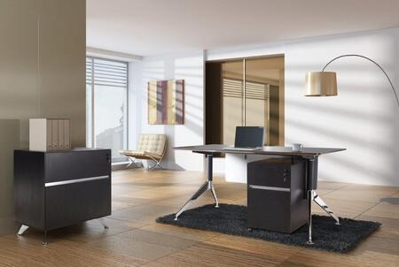 1C300004CES Espresso Executive Computer Desk with File Cabinet and Mobile