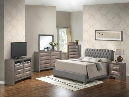 G1505CTBUPCHDMNTV2 6 Piece Set including  Twin Size Bed  Chest  Dresser  Mirror  Nightstand and Media Chest  in