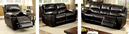 Keara Collection CM6984-SLR 3-Piece Living Room Set with Motion Sofa  Motion Loveseat and Recliner in Dark