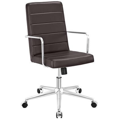 Cavalier Collection EEI-2124-BRN Office Chair with Swivel Seat  Adjustable Height  Dual-Wheel Nylon Casters  Brushed Stainless Steel Armrests  Polished Chrome