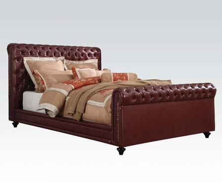 Norris Collection 24350Q Queen Size Bed with Copper Nail Head Trim  Button Tufting  Wood Legs  Supported Slats and Bycast PU Leather Upholstery in Burgundy