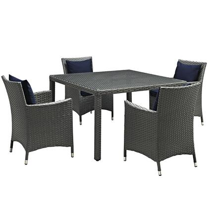 Sojourn Collection EEI-2244-CHC-NAV-SET 5-Piece Outdoor Patio Sunbrella Dining Set with 4 Armchairs and Dining Table in Canvas
