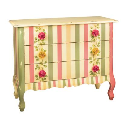 Rose Collection 52-5850 42 Chest with 3 Drawers  Cabriole Legs  Carved Apron  Floral Motifs  Decorative Rose Handles and Wood Construction in Pink  Green and