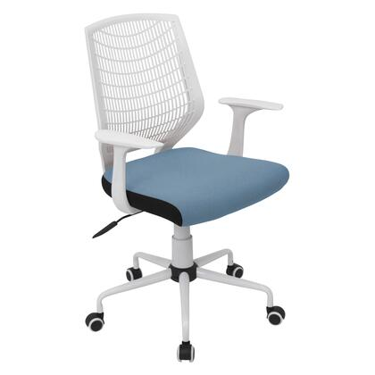OFC-NET W+SMBU Network Contemporary Height Adjustable Office Chair with Swivel in White and Smoked
