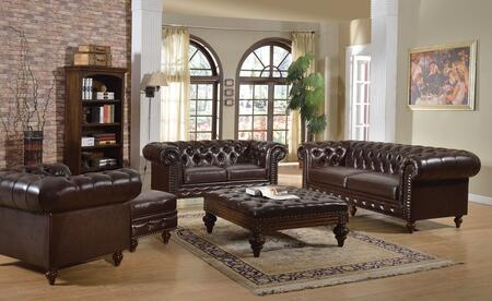 Shantoria Collection 51315SLCO 5 PC Living Room Set with Sofa + Loveseat + Chair + 2 Ottomans in Dark Brown