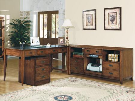 Danforth Collection 388-10-458-FC-CZ 3-Piece Desk Set with Table  File Cabinet and Credenza in Medium