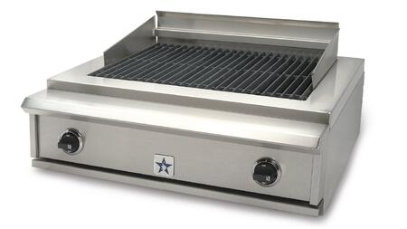 "PRZIDCB30V@LP 30"""" Indoor Charbroiler with Two 15 000 BTU Burners  Adjustable Cast-Iron Grates and Commercial Stainless Steel Construction  and Adjustable Grate"" 456252"