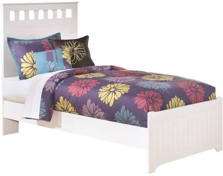 Lulu Collection B102-51/52/82 Twin Size Panel Bed with Grooved Panels  Rectangular Cut-Out Shapes and Replicated Paint in