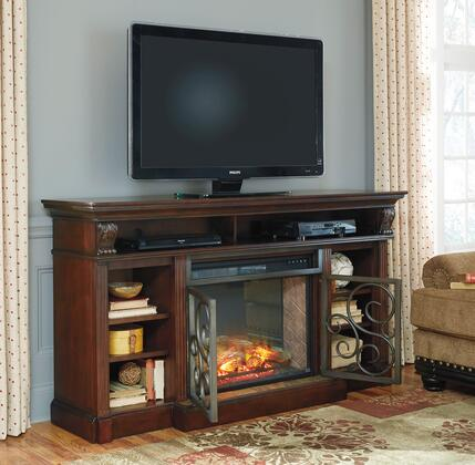 """Alymere W66988SET 72"""" Wide XL TV Stand with W100-21 LG Infrared Fireplace Insert in Rustic Brown"""