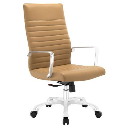 Finesse Collection EEI-1061-TAN Office Chair with 360 Degree Swivel  High Backrest  Adjustable Height  Polished Aluminum Frame and Ribbed Vinyl Upholstery in