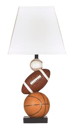 Nyx L815714 24 Tall Poly Table Lamp with Sports Motif Base  Square Hardback Shade and On-Off Switch in Brown and