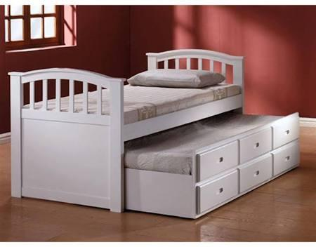 San Marino Collection 09145W Twin Size Bed with Storage Drawers  Trundle  Arched Design  Solid Wood and Wood Veneer Construction in White