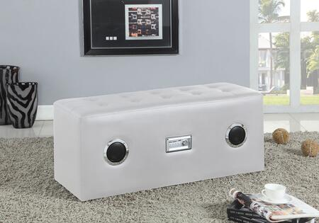 Laila Collection 96527 8 inch  Sound Lounge Bench with Bluetooth Speaker  5V Voltage Input  Button Tufted Seat  Rectangular Shape and PU Leather Upholstery in White