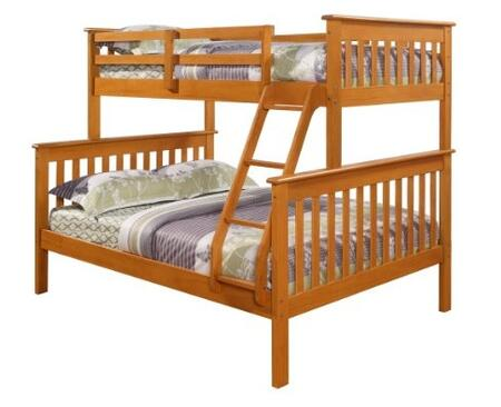122-3H Mission Style Bunk Bed Twin Over Full with Built in Ladder  Slat Headboard and Footboard in