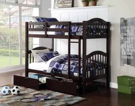 Heartland Collection 02554DRW Twin Over Twin Bunk Bed with 2 PC Drawers  Right Facing Front Ladder  Easy Access Guard Rail  Slat System Included and Wood