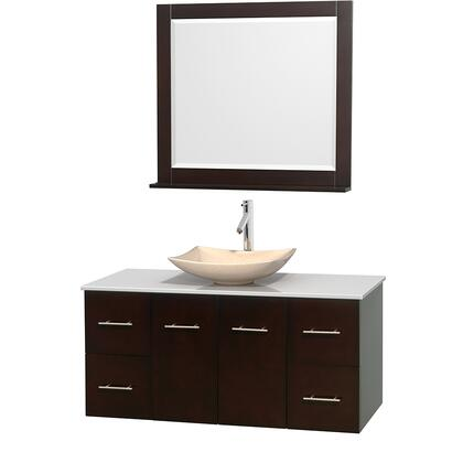WCVW00948SESWSGS5M36 48 in. Single Bathroom Vanity in Espresso  White Man-Made Stone Countertop  Arista Ivory Marble Sink  and 36 in.