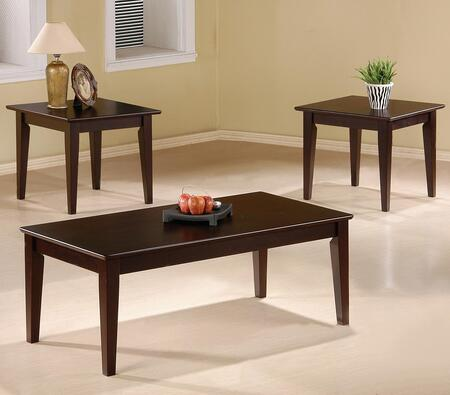Occasional Table Sets Collection 5880 3 PC Living Room Table Set with 2 Square End Tables  Rectangular Coffee Table  Tapered Legs and Smooth Tops in Cappuccino