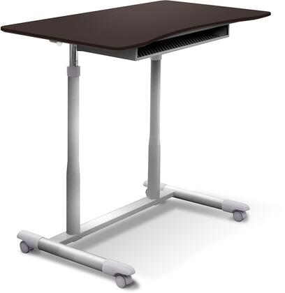 200 Collection 205-ESP 30.5 inch  - 42.5 inch  Mobile Stand Up Desk with Adjustable Height  Wire Storage Shelf  Lacquered Steel Base  Vacuumed Sealed MDF and Ergonomic