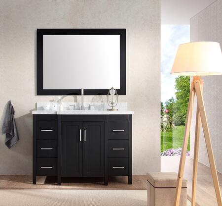 E049SBLK Ariel Hollandale 49 inch  Single Sink Vanity Set with Marble Top  Mirror  Six Drawers and Two Doors in