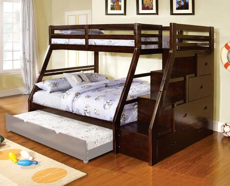 Ellington Collection CM-BK611EX-BED Twin Over Full Size Bunk Bed with Front Access Step  Built-In Drawers  Slats Top/Bottom  Solid Wood and Wood Veneers