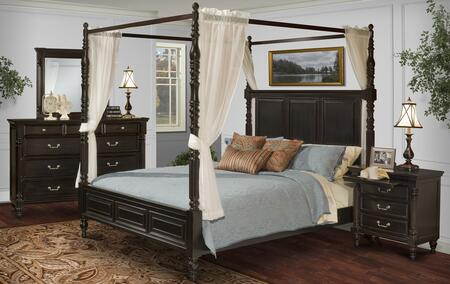 00222QCBDMNC Martinique 5 Piece Canopy Bedroom Set with Queen Bed  Dresser  Mirror  Nightstand and Chest  in Rubbed