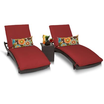 Barbados BARBADOS-CURVED-CHAISE-2x-ST-TERRACOTTA 3-Piece Patio Set with 2 Curved Chaises and Side Table - Wheat and Terracotta