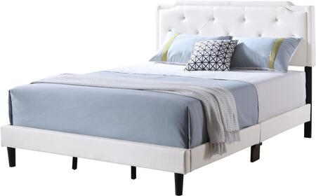 Starlight Collection G1118-QB-UP Queen Size Bed with Tufted Headboard and Support Slats and Legs in White Faux