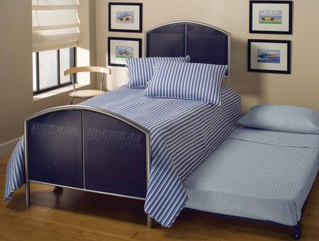 1177BTWHTR Brayden Twin Size Panel Bed Set with Rails Included  Roll-Out Trundle  Mesh and Metal Construction in Silver and Navy
