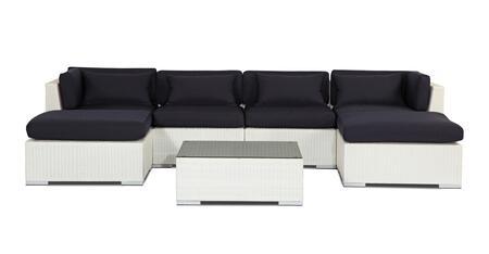 NAPALI7-WHT-NAVY Modern Outdoor Furniture Sofa Patio Modify-It Aloha Napali 7-Pc Set  White Wicker/Navy Cushions By Kardiel