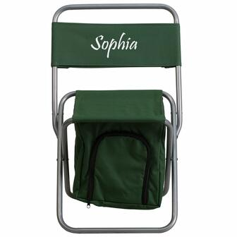 TY1262-GN-EMB-GG Embroidered Folding Camping Chair with Insulated Storage in