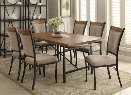 Zeke Collection 73020T6C 7 PC Dining Room Set with Rectangle Dining Table and 6 Fabric Cushion Side Chairs in Oak and Black